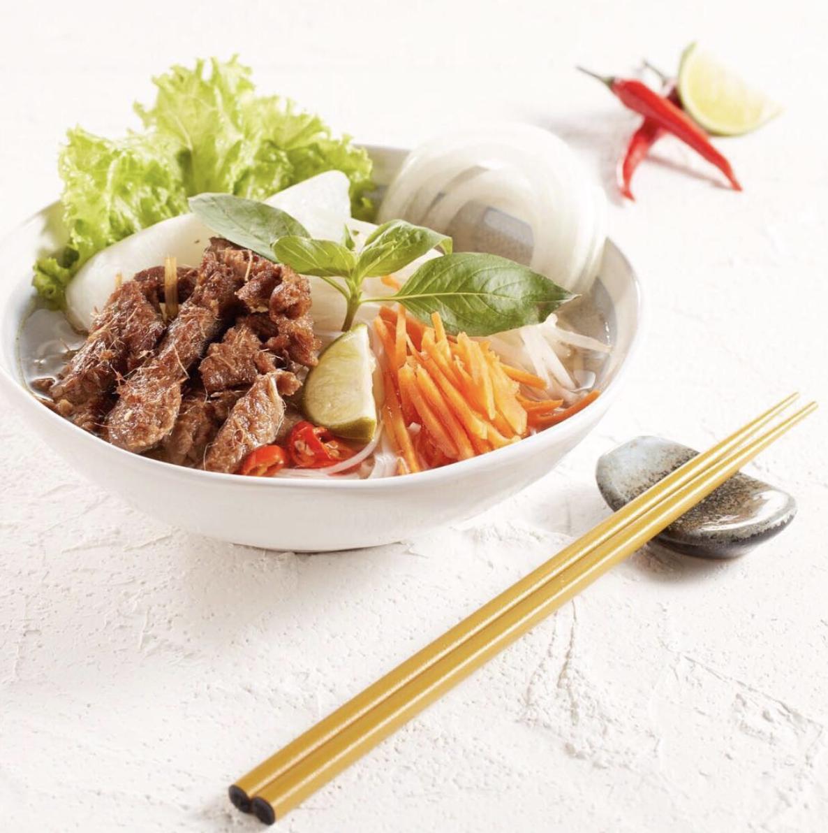 Vietnamese beef pho using Gardein beefless strips