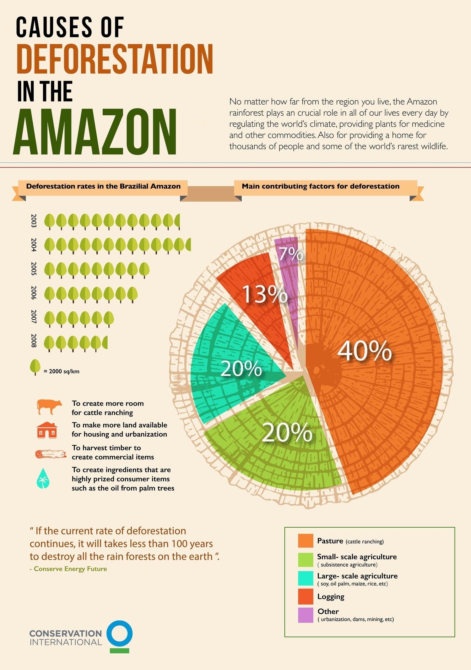 An infographic showing the causes of Amazon deforestation.