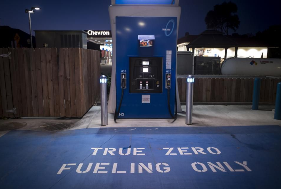A hydrogen fueling pump stands at a TrueZero station stands at dusk in Mill Valley, California, U.S., on Friday, Feb. 23, 2018. California is spending more than $2.5 billion in clean energy funds to accelerate sales of hydrogen and battery vehicles. That includes $900 million earmarked to complete 200 hydrogen stations and 250,000 charging stations by 2025.