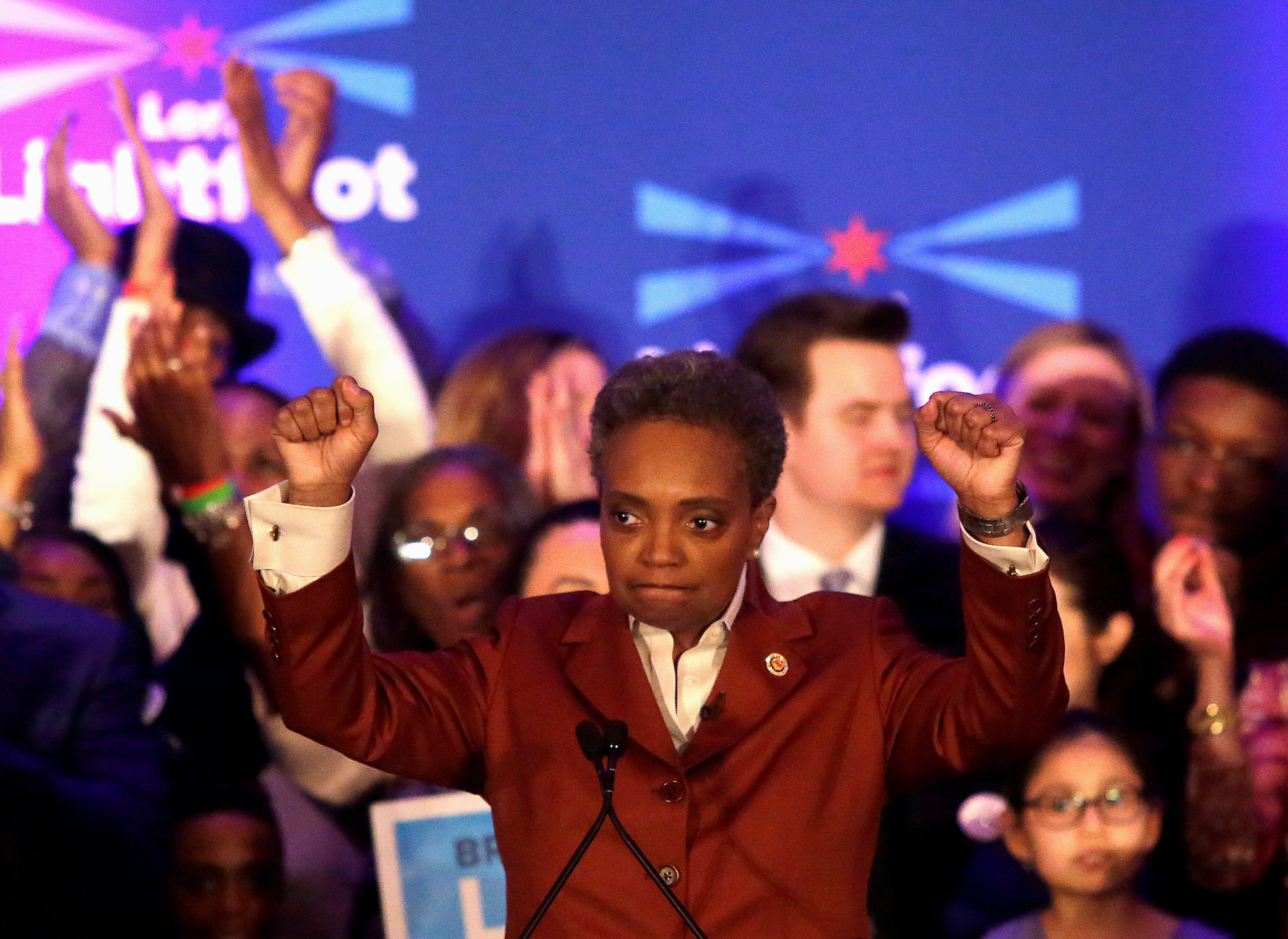 Mayoral candidate Lori Lightfoot clinches her fists as she speaks during her election night celebration after defeating her challenger Toni Preckwinkle in a runoff election in Chicago, Illinois, U.S., April 2, 2019.