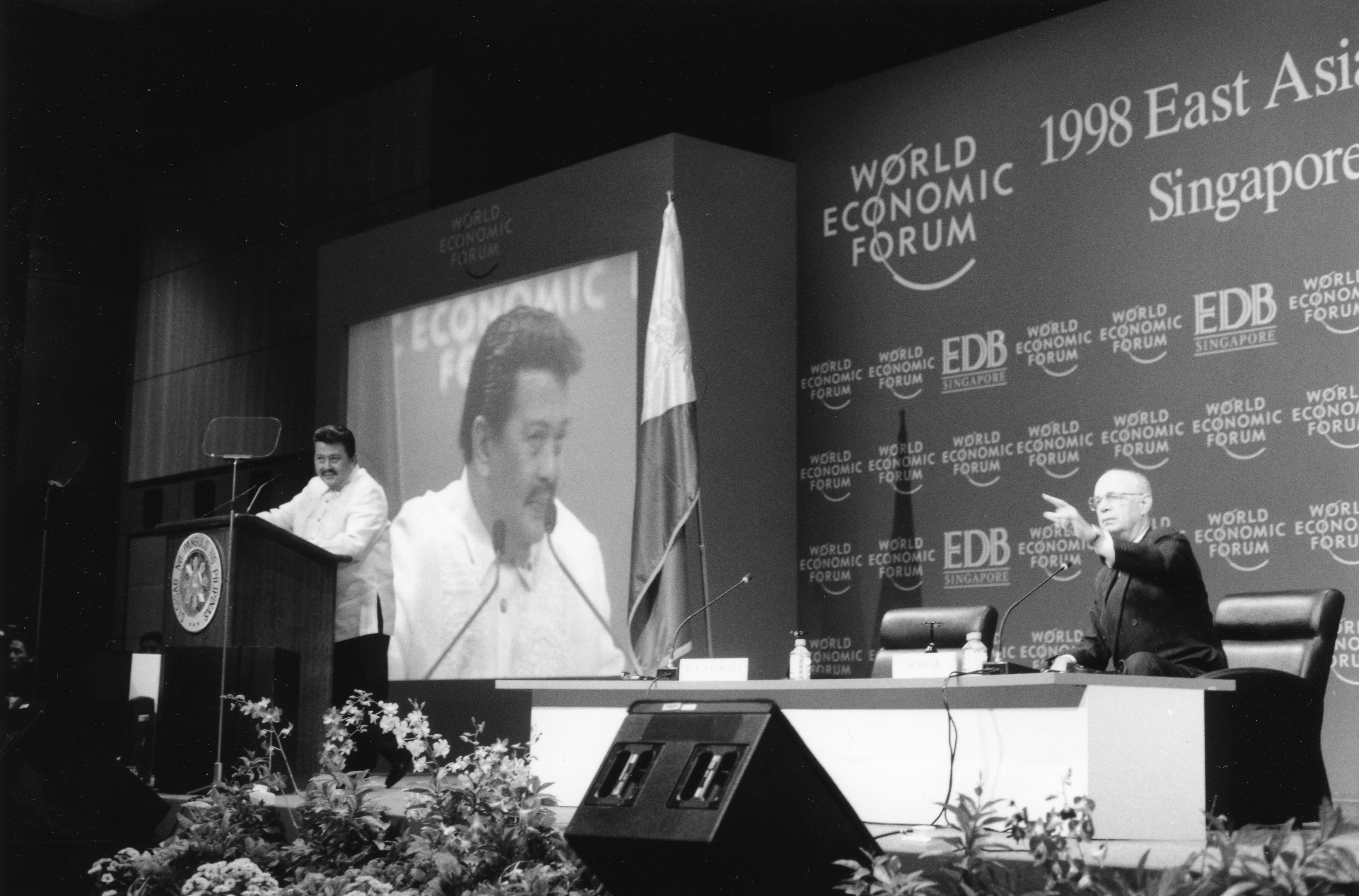 Joseph Estrada, President of the Philippines, speaking at a session