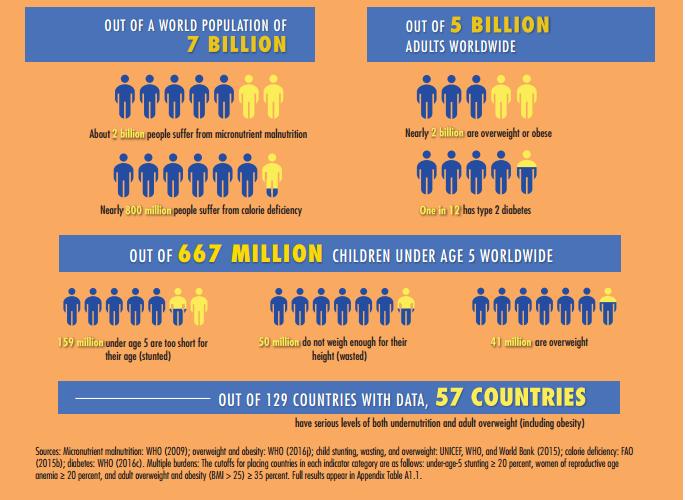 one in three people worldwide suffer from malnutrition