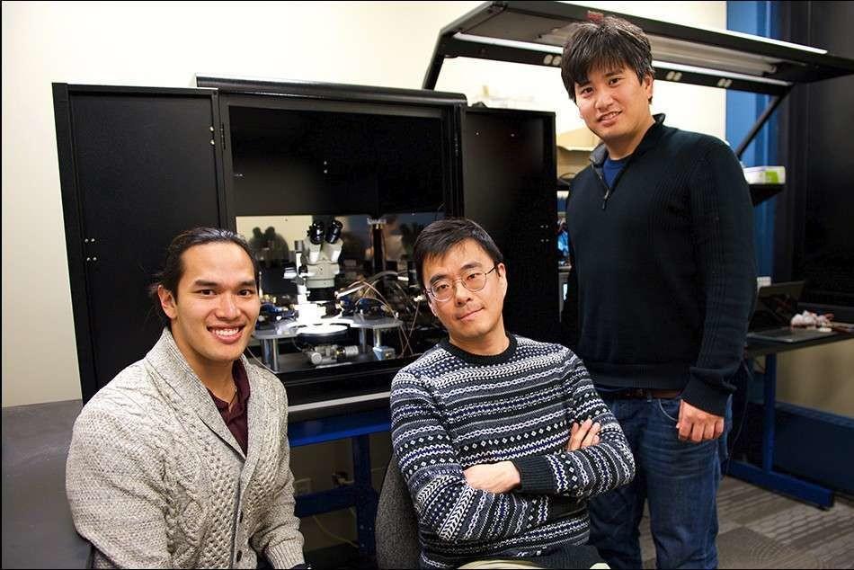 Les trois chercheurs du MIT à l'origine de cette avancée sur les synapses artificielles. De gauche à droite : Scott Tan, Jeehwan Kim et Shinhyun Choi.