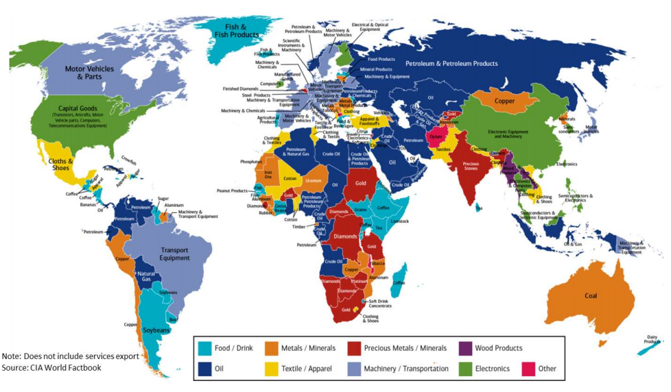 This map shows every country\'s major export | World Economic Forum