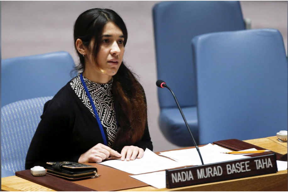 Nadia Murad Basee, a 21 year old woman of the Yazidi faith, speaks to members of the security council during a meeting at the United Nations headquarters in New York, December 16, 2015