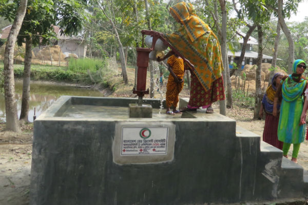 Elevated wells prevent drinking water becoming contaminated during flooding.