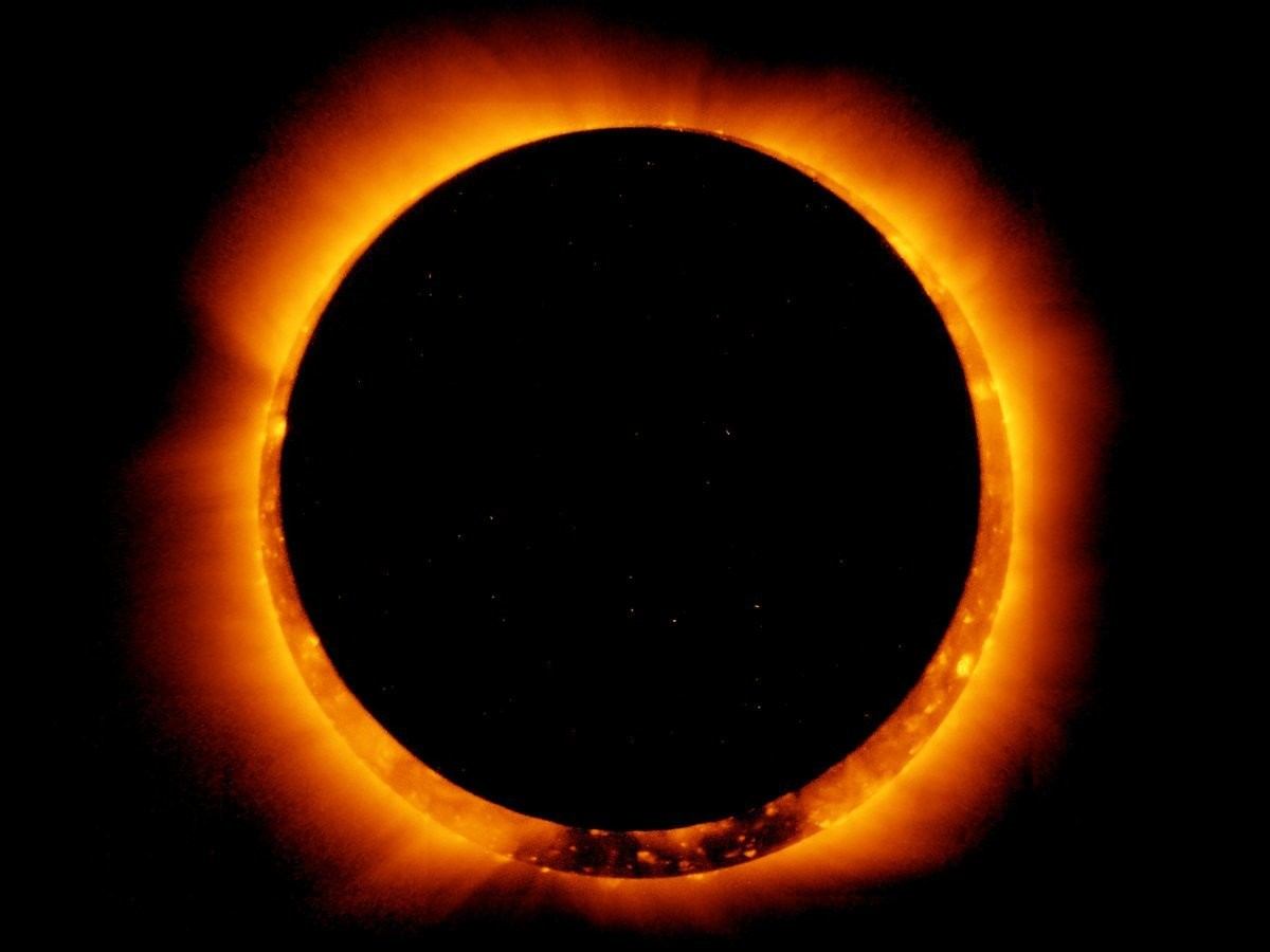 An annular solar eclipse as seen by Japan's Hinode spacecraft on May 20, 2012.