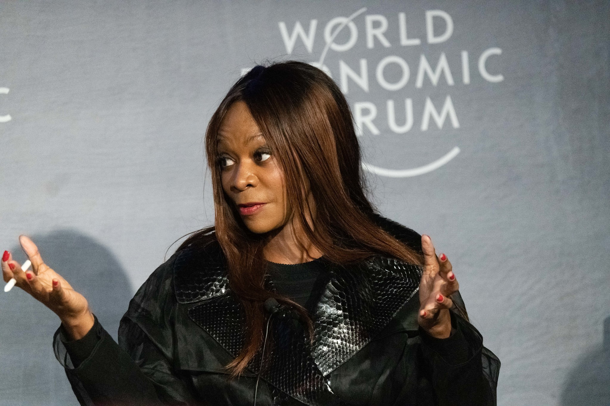 Dambisa Moyo, Global Economist, Mildstorm Group, USA; Young Global Leader, speaking in the Democratic Capitalism: Dead End or Shared Destiny? session at the World Economic Forum Annual Meeting 2020 in Davos-Klosters, Switzerland, 23 January. Congress Centre - Spotlight. Copyright by World Economic Forum/Mattias Nutt