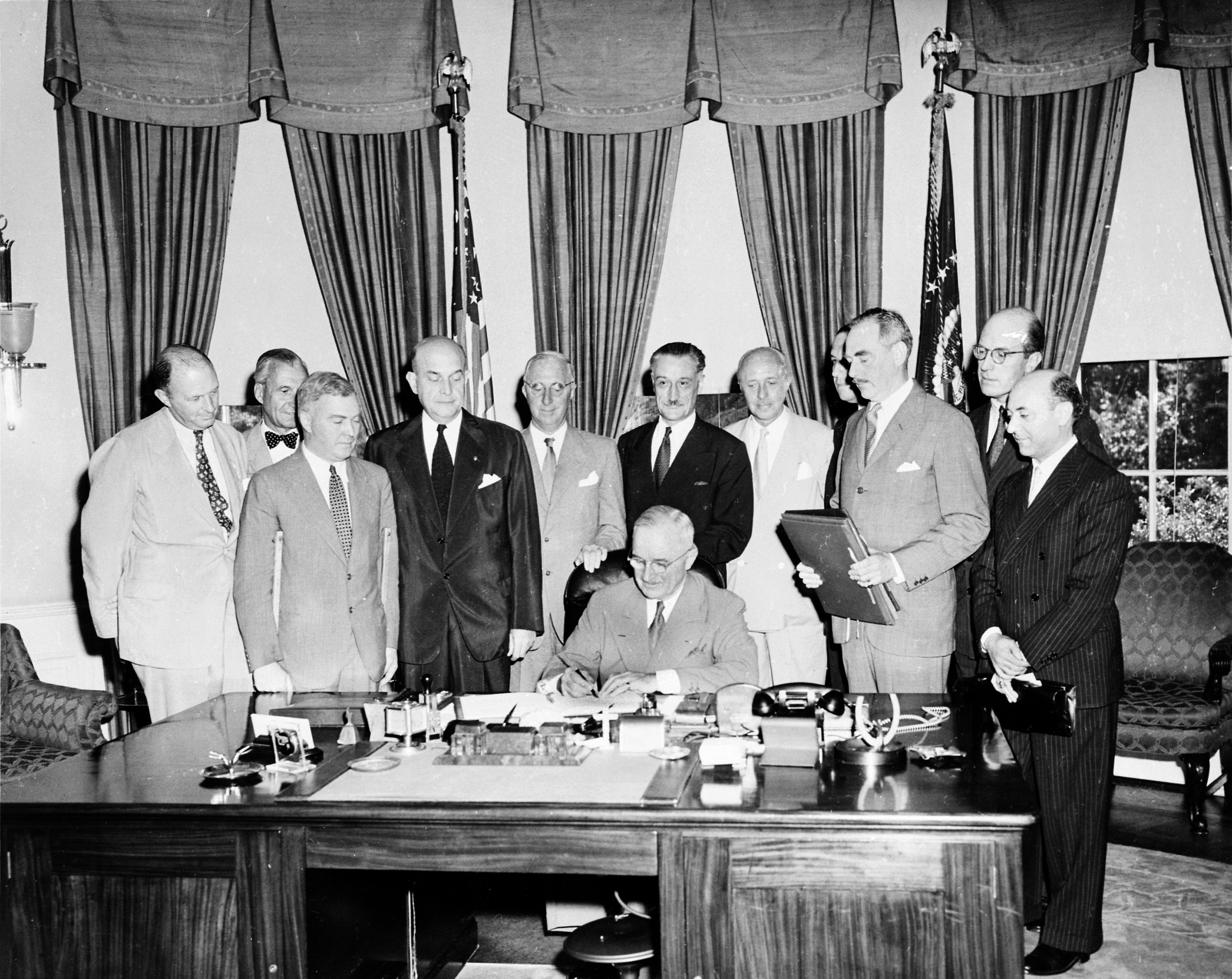 Truman signing the North Atlantic treaty
