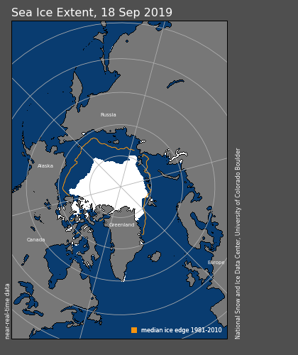 Arctic sea ice extent on 18 September 2019 (white shading). The orange line shows the 1981-2010 average extent for that day.