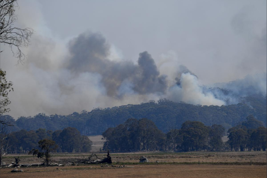 Smoke from a large bushfire outside Wytaliba, near Glen Innes, Australia.