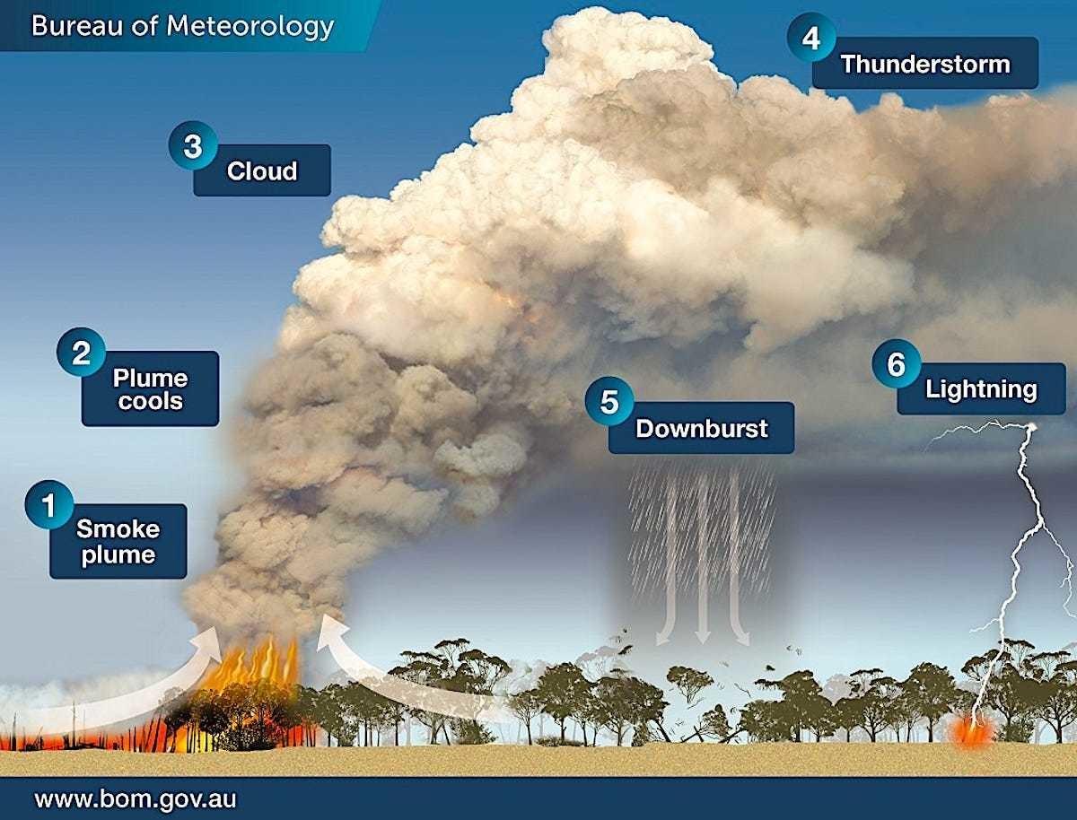 pyrocumulonimbus clouds weather meterology bushfire climate change crisis australia