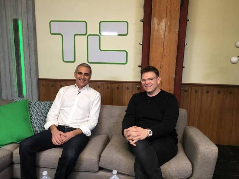 David Wadhwani, PDG d'AppDynamics, avec Rowan Trollope, VP iOT de Cisco, lors du rachat de la startup 3,7 milliards de dollars en 2017 par Cisco.