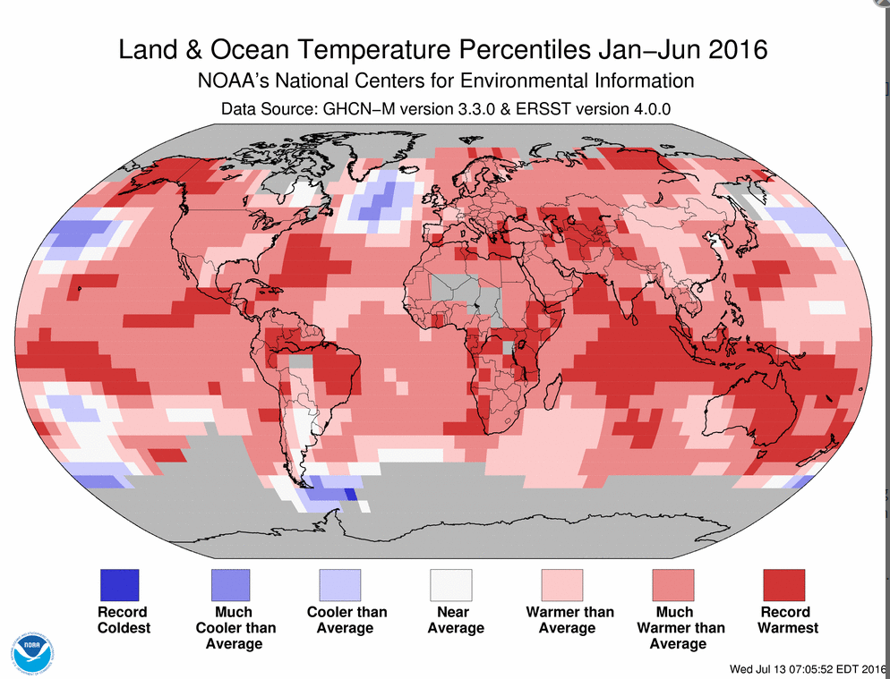 Land & Ocean Temperature Percentiles Jan-Jun 2016