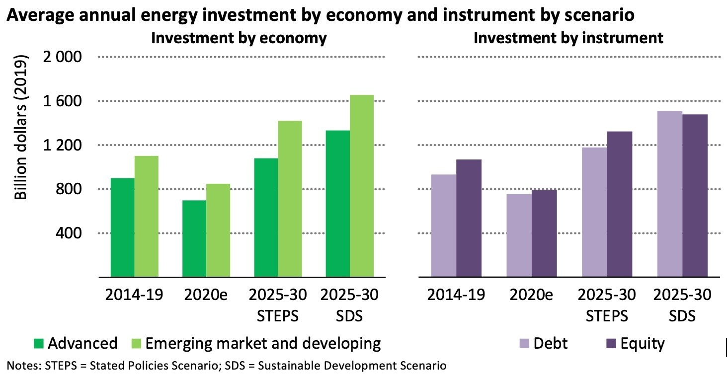 Average annual energy investment by economy and instrument by scenario