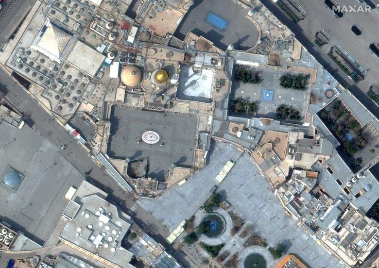 SETELAH: Kuil Hazrat Masumeh di Qom, Iran, 1 Maret 2020. Citra satelit 2020 Maxar Technologies / Handout via REUTERS