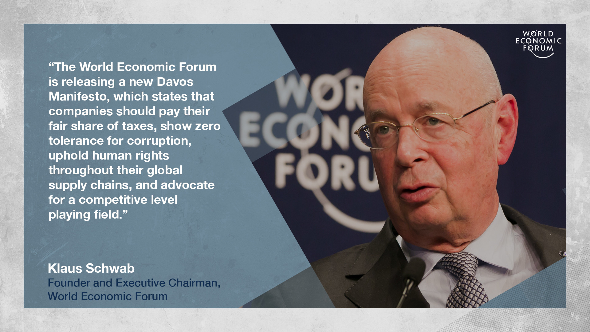Klaus Schwab on the new Davos Manifesto