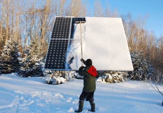 A solar panel in winter