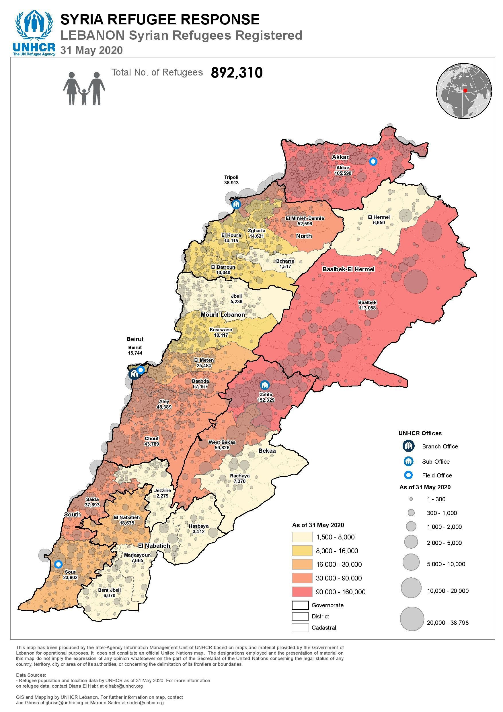 The distribution of Syrian refugees in Lebanon