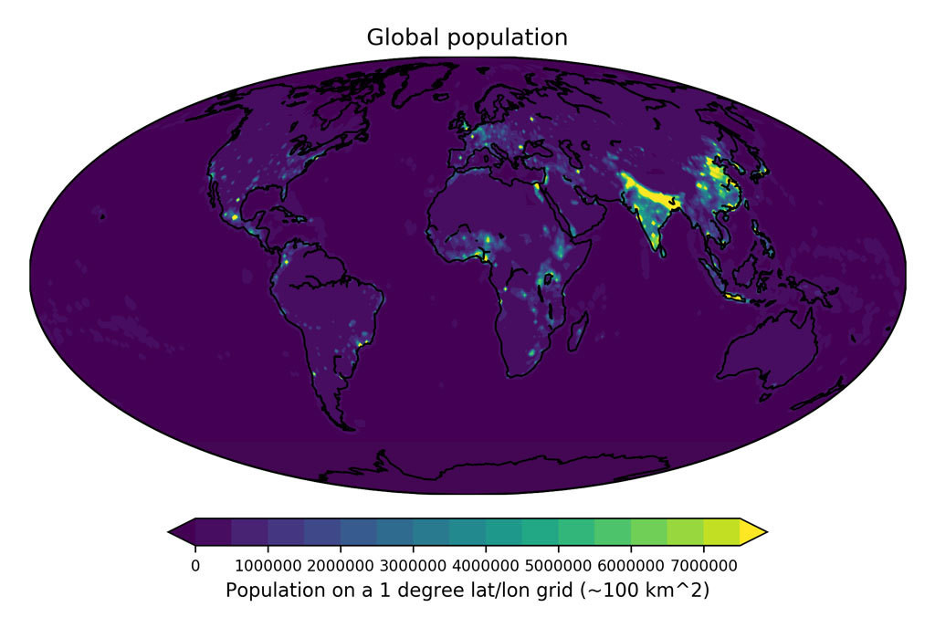 2020 projected population per 1×1 latitude/longitude grid cell (around 100 square kilometers) using data from the Gridded Population of the World version 4 (GPWv4).