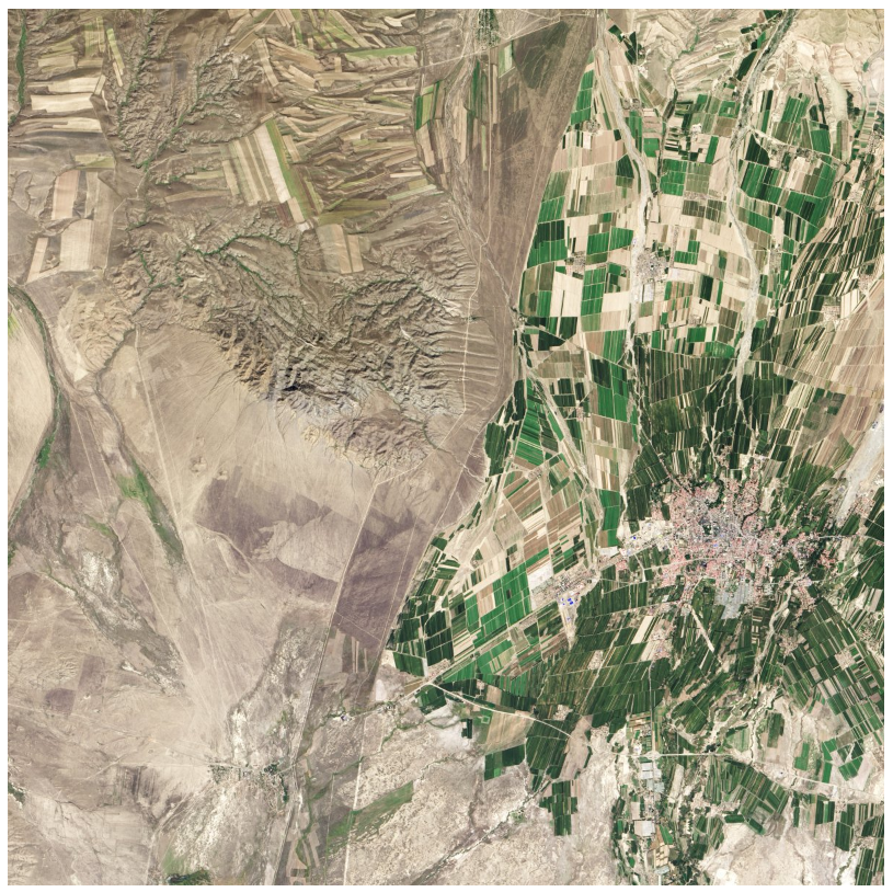 The border between China and Kazakhstan is a colourful illustration of the countries' agriculture practices.