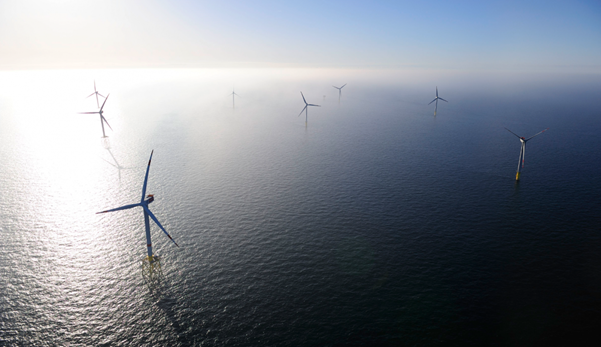 Wind turbines at the Alpha Ventus Offshore Wind Farm.