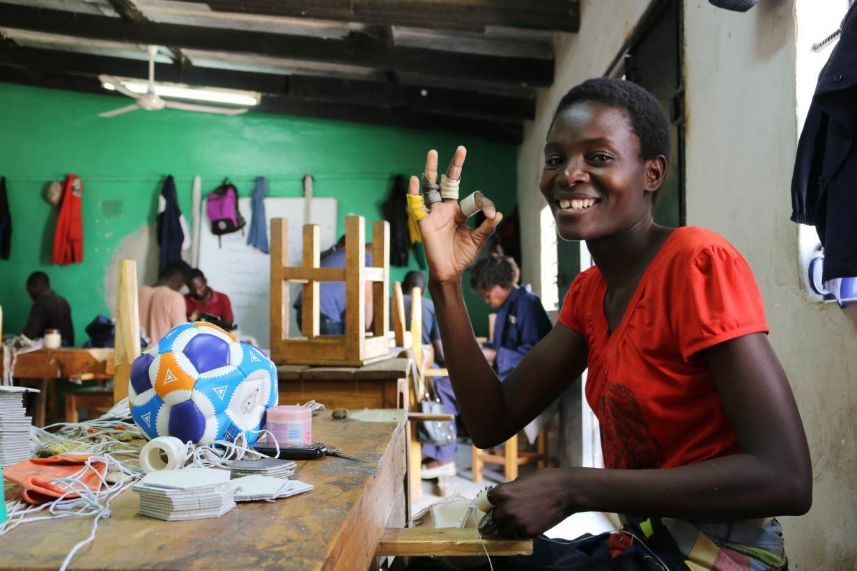 Ruth provides the finishing touches to the Zambia Mphungu ball in Lusaka, Zambia, September 2017.