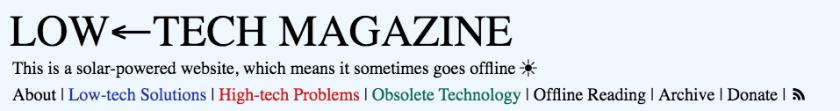 Extrait de la page d'accueil dusite« low-tech » du Low-tech Magazine, qui fonctionne à l'énergie solaire et s'éteint donc la nuit.
