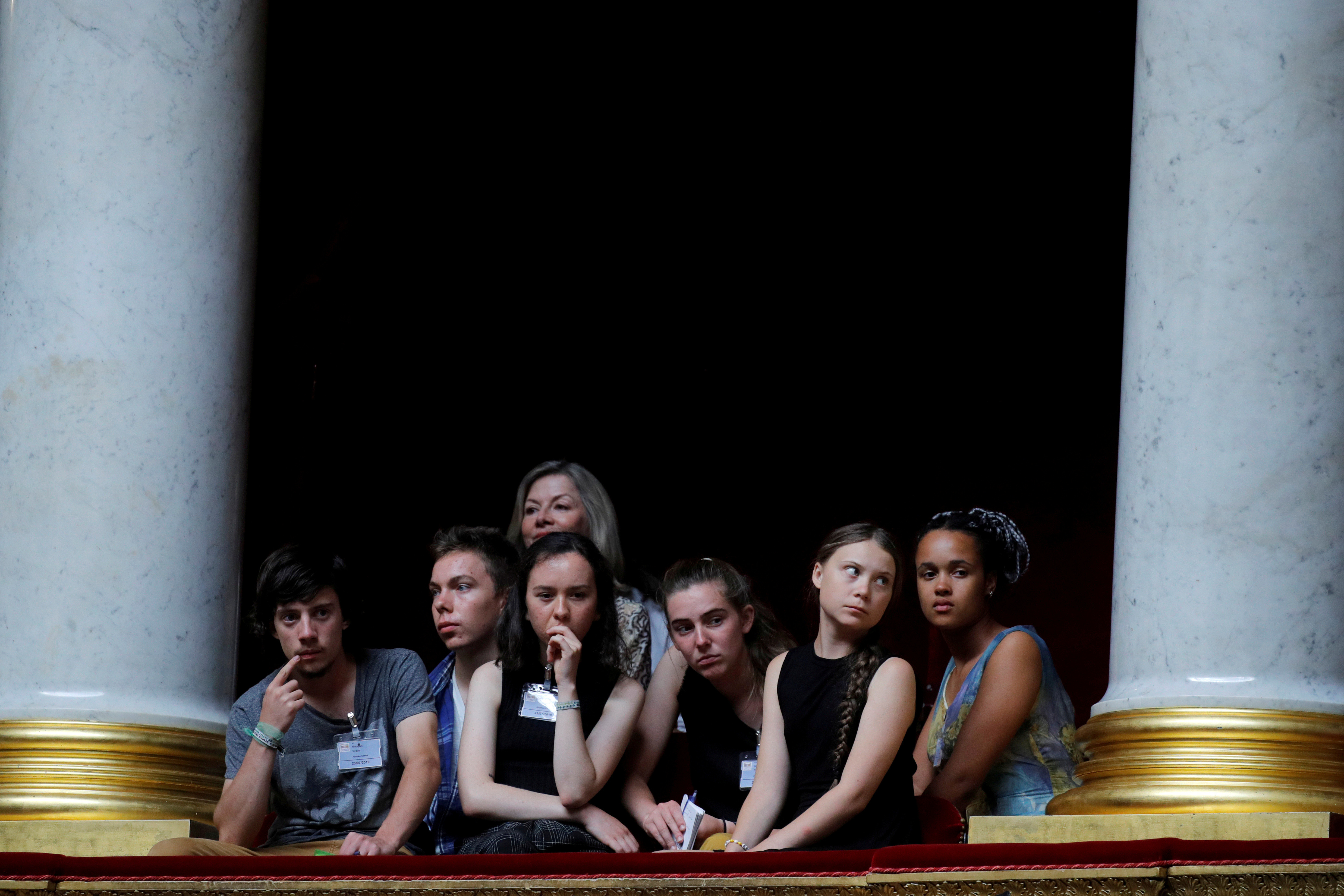 Swedish environmental activist Greta Thunberg, Ivy-Fleur Boileau, Virgile Mouquet, Adelaide Charlier and Alicia Arquetoux, French activists from the Youth for Climate movement, attend the questions to the government session, at the National Assembly in Paris, France, July 23, 2019