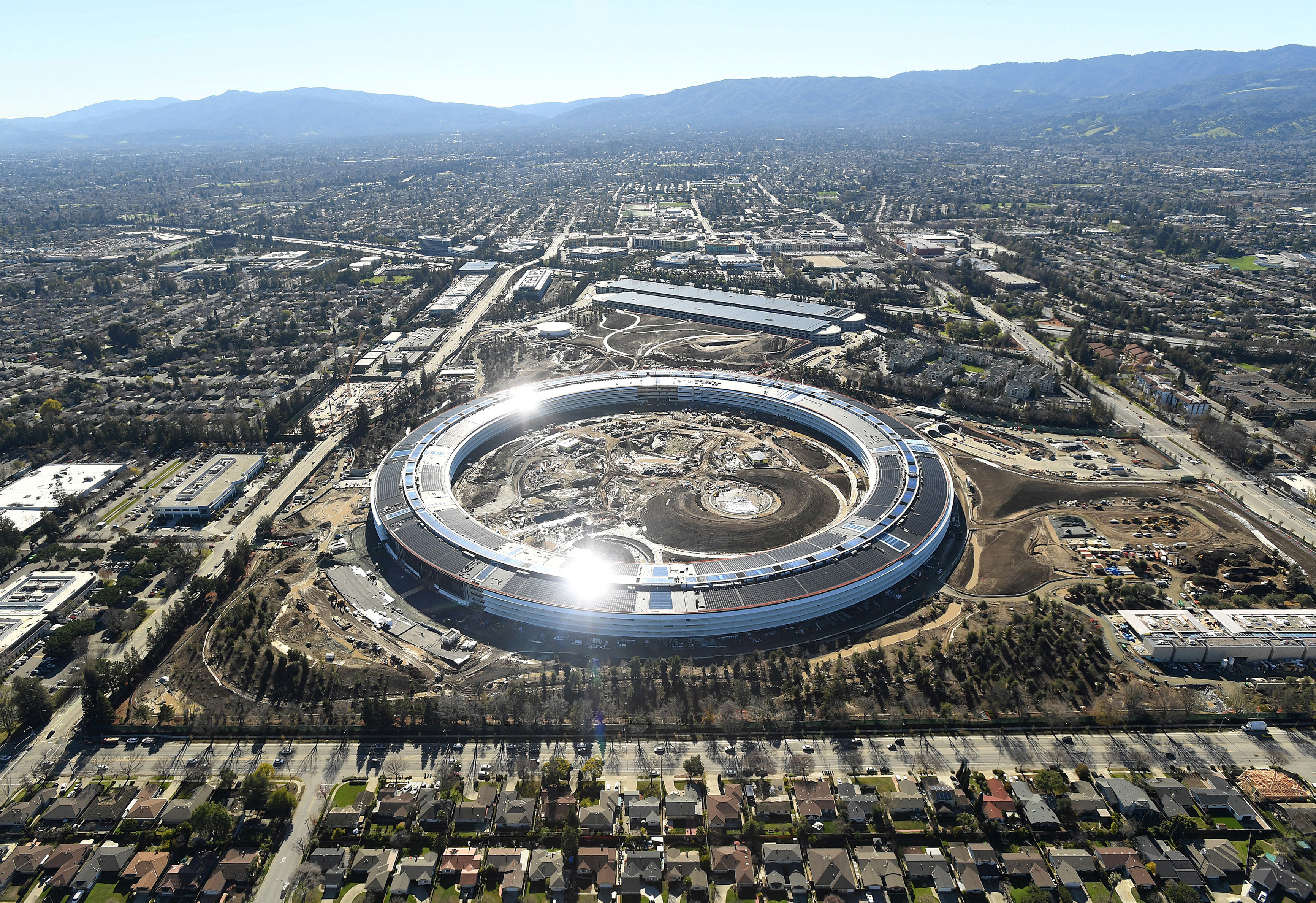 The Apple Campus 2 is seen under construction in Cupertino, California in this aerial photo taken January 13, 2017. REUTERS/Noah Berger - RC1902519C80