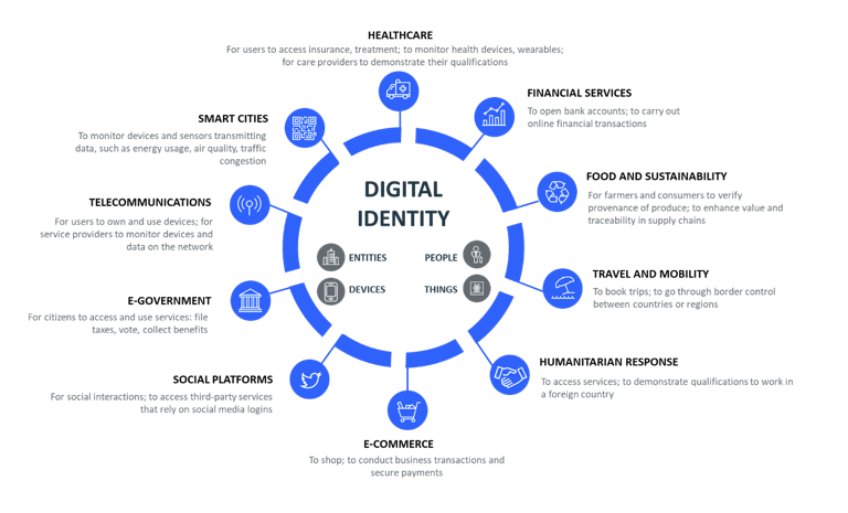 Illustration shows the intersection of digital identity in social and economic sectors.