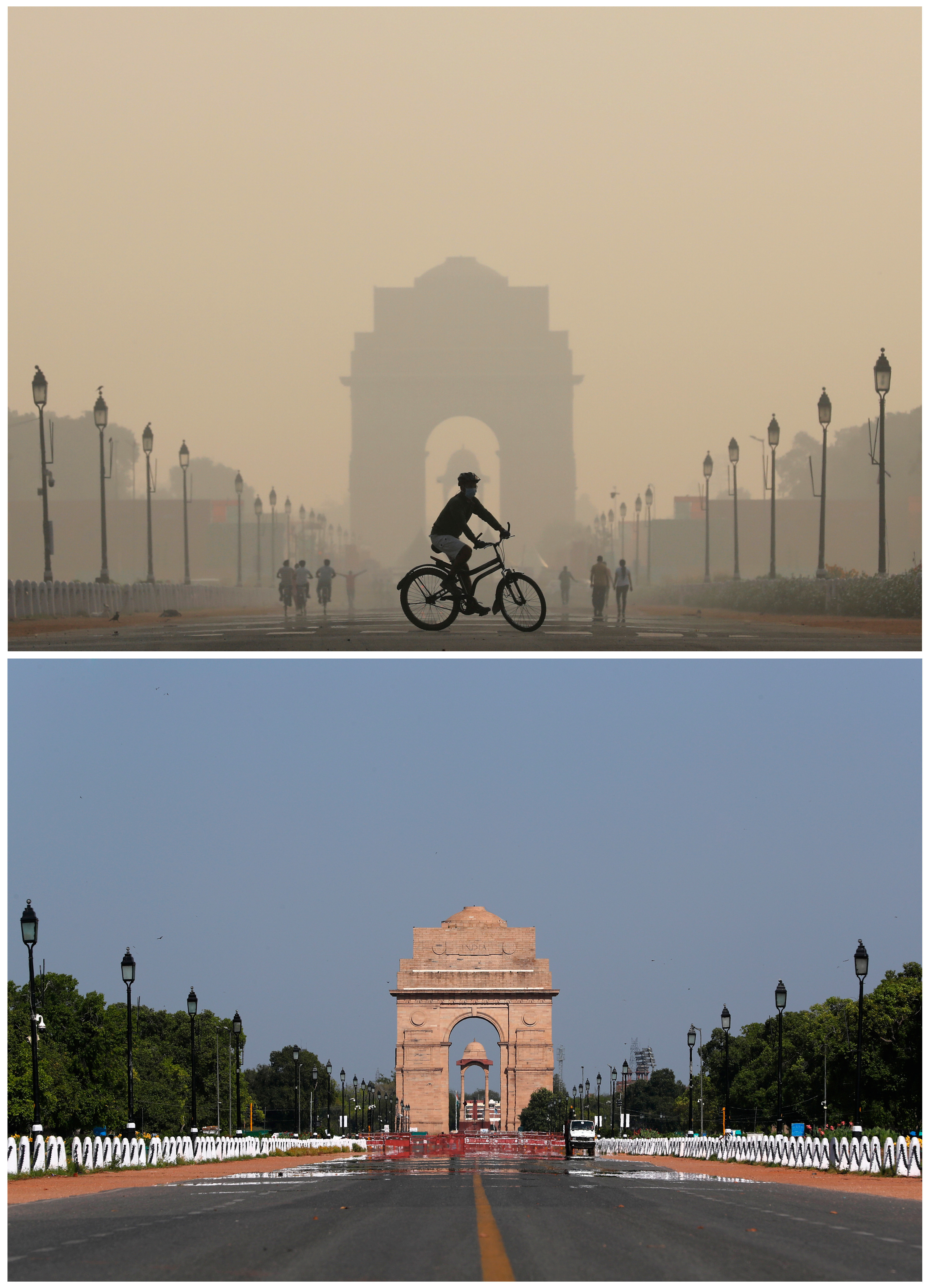A combo shows the India Gate war memorial on October 17, 2019 and after air pollution level started to drop during a 21-day nationwide lockdown to slow the spreading of Coronavirus disease (COVID-19), in New Delhi, India, April 8, 2020. REUTERS/Anushree Fadnavis/Adnan Abidi - RC2E0G948GG1
