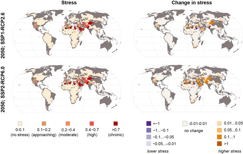 Change in water stress.