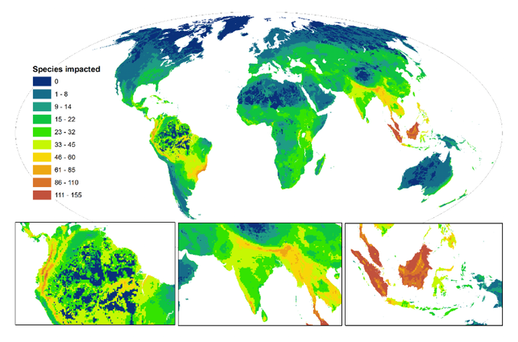 Hotspots of threats and threatened species richness.