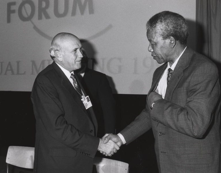 Davos history Mandela handshake