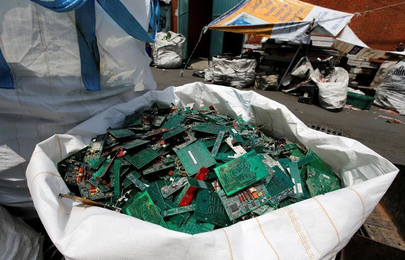 Packed electronic waste are seen outside at a recycling warehouse, in Mexico City, Mexico August 18, 2017. REUTERS/Henry Romero