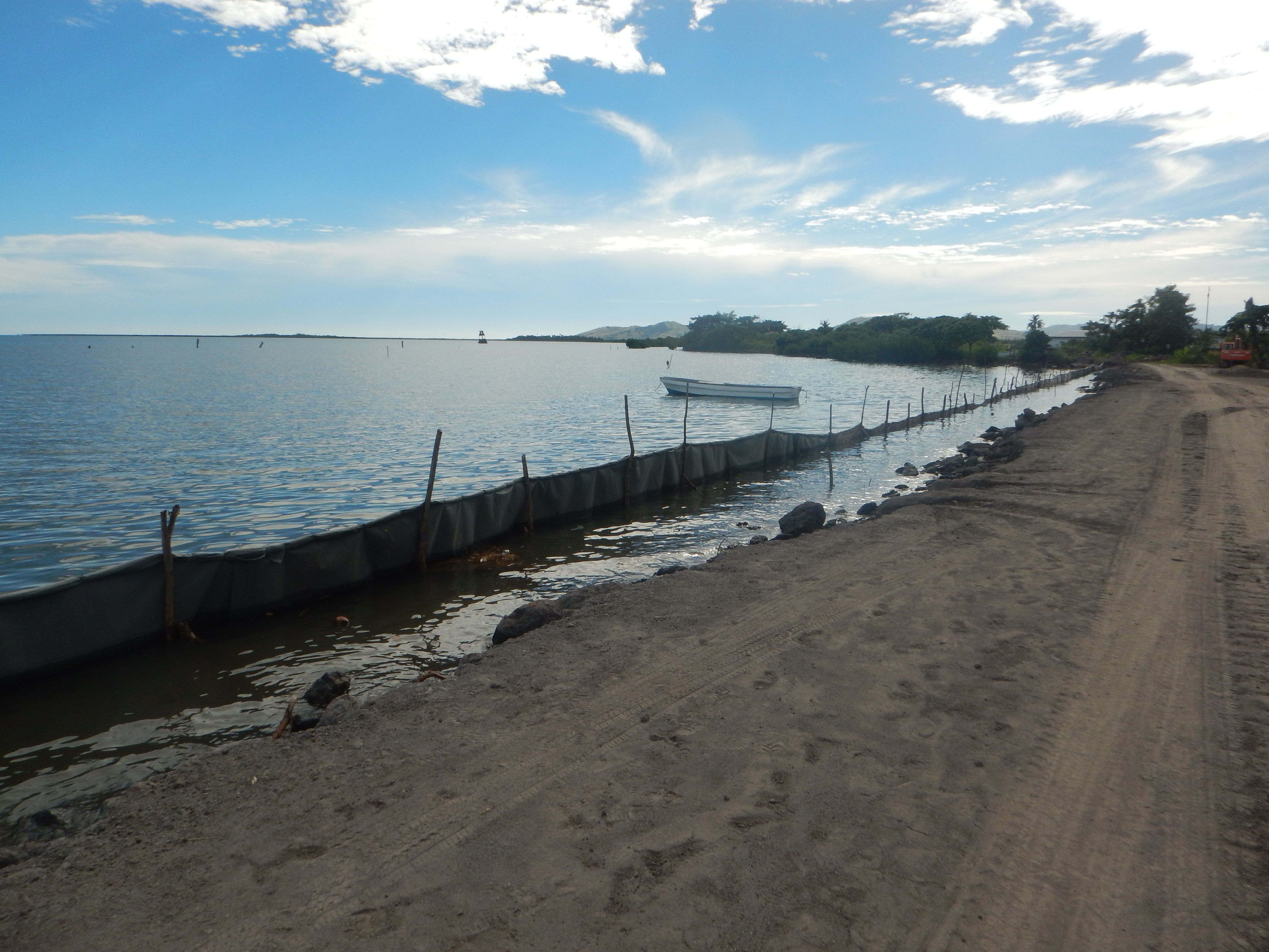 Namoli Village in Fiji is building a sea wall to protect against sea level rise.