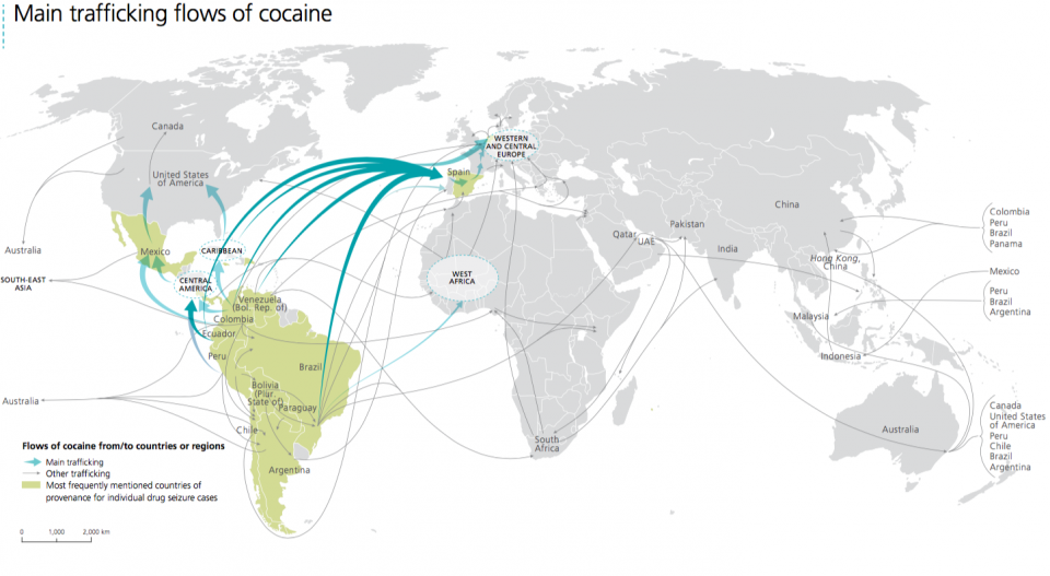 Main trafficking flows of cocaine