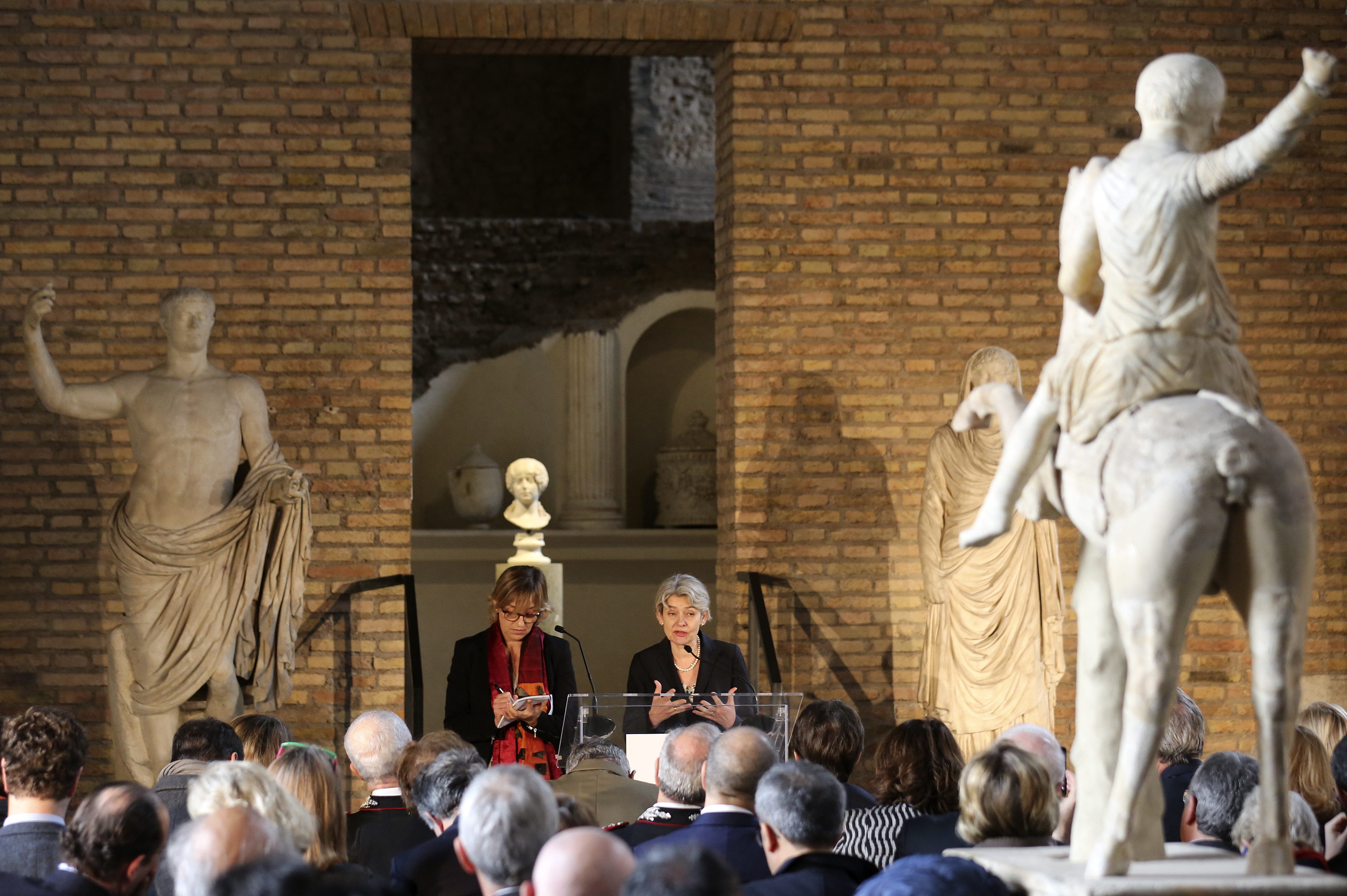 Irina Bokova at the presentation of the Unite for Heritage operation, a UN-backed task force to protect monuments and cultural sites.