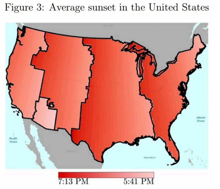 Average sunset in the United States