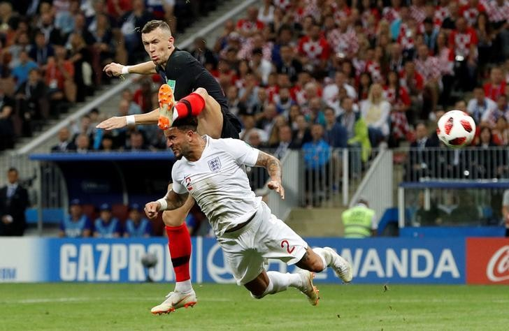 Soccer Football - World Cup - Semi Final - Croatia v England - Luzhniki Stadium, Moscow, Russia - July 11, 2018  Croatia's Ivan Perisic scores their first goal                  REUTERS/Darren Staples     TPX IMAGES OF THE DAY