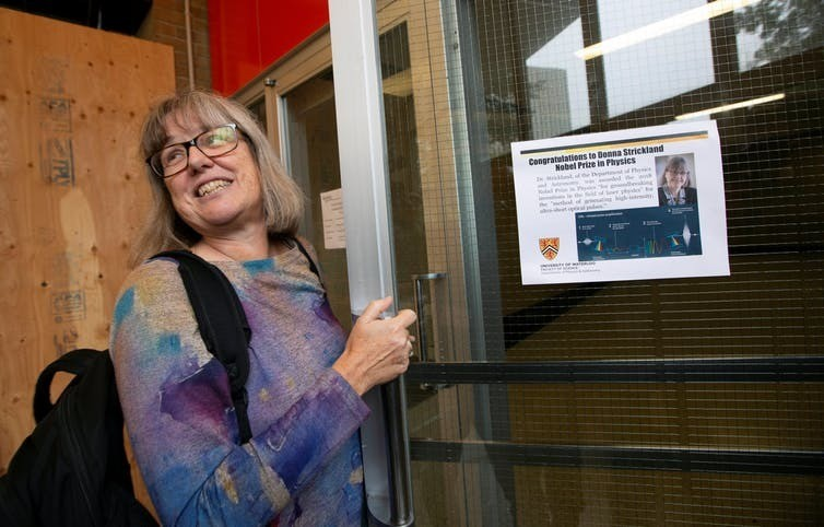 Donna Strickland outside her lab at the University of Waterloo.Female physics laureate No. 3