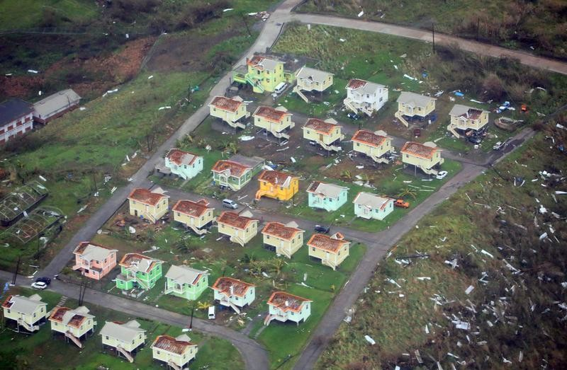 Damaged homes from Hurricane Maria are shown in this aerial photo over the island of Dominica, September 19, 2017.  Photo taken September 19, 2017.  Courtesy Nigel R. Browne/Caribbean Emergency Management Agency/Regional Security System/Handout via REUTERS