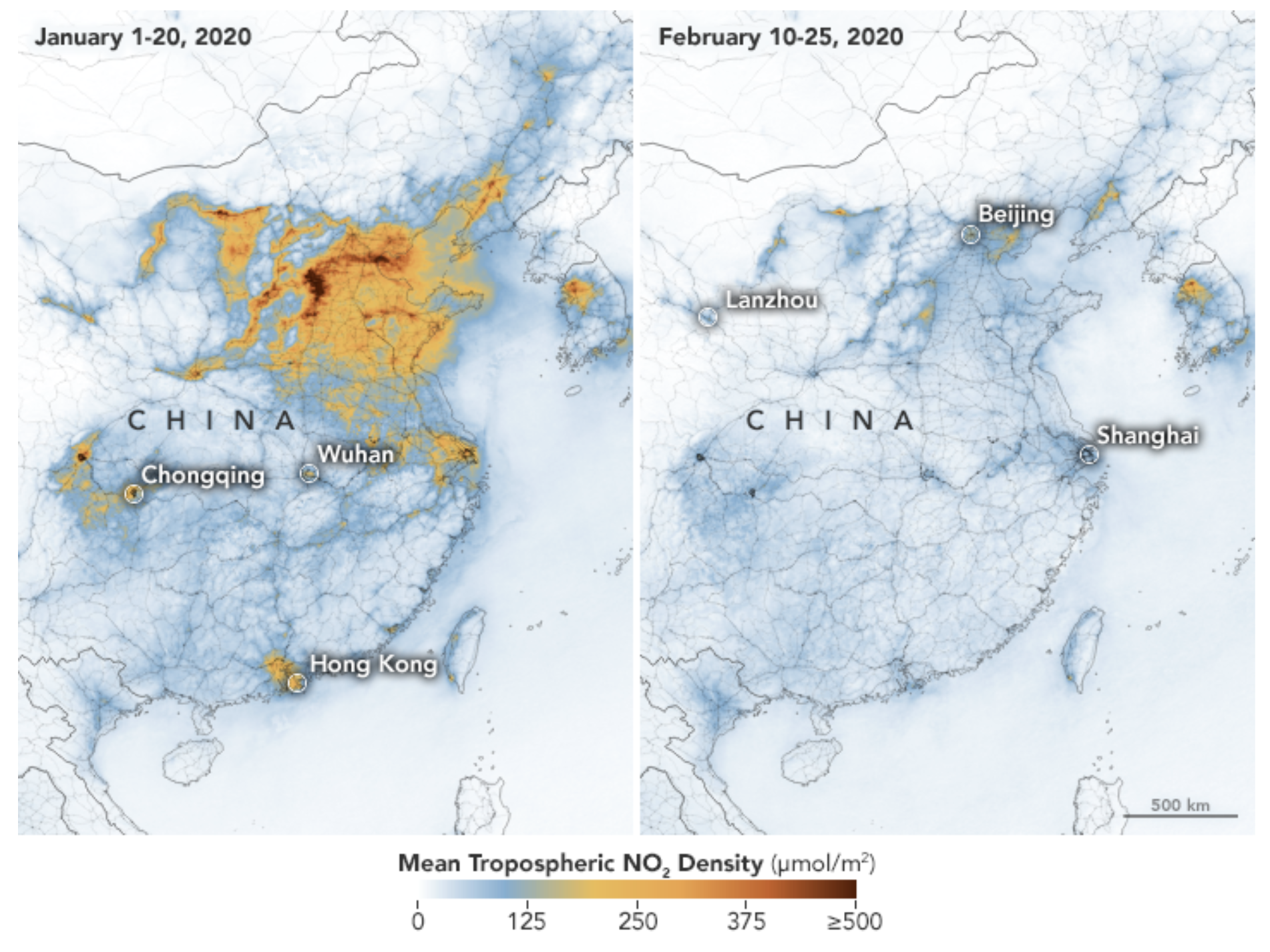 Satellites detected significant decreases in nitrogen dioxide over China during the lockdown