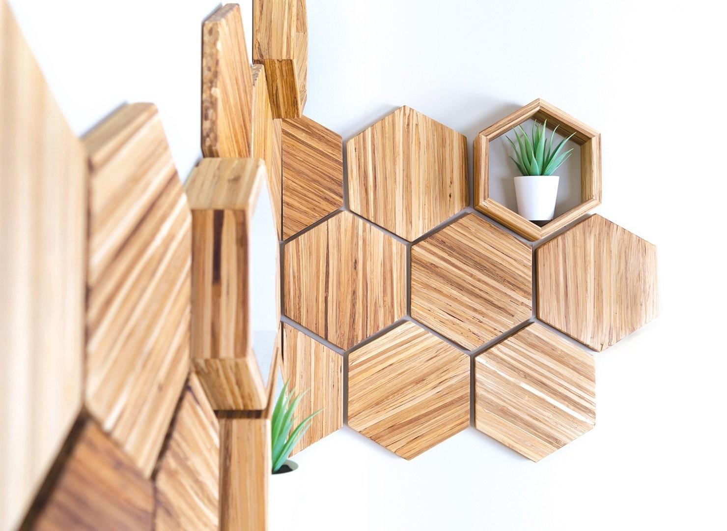 a picture of an hexagonal shelving unit