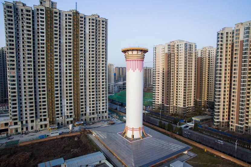 A 100-meter-tall air purifier in Xi'an City, Shaanxi province, Jan. 17, 2018.