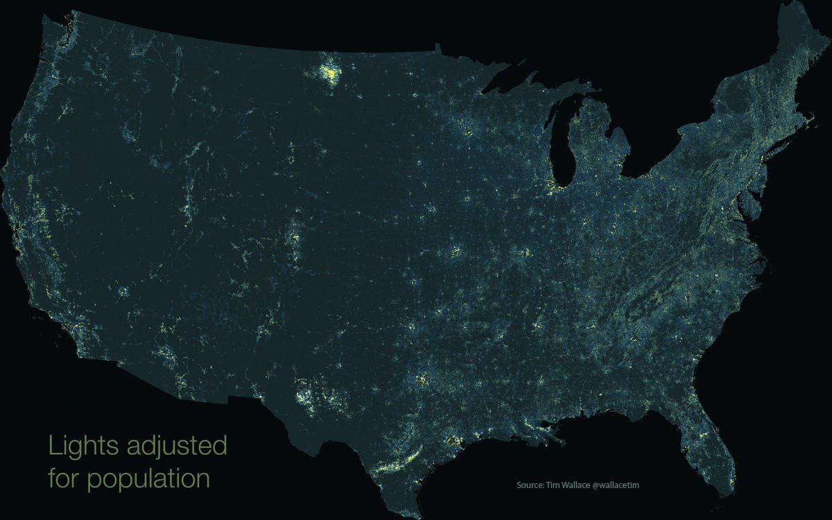 Lights adjusted for population