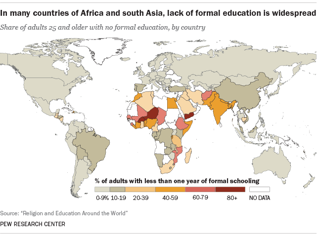 Across the world 1 in 5 adults have no formal schooling world education map gumiabroncs Gallery