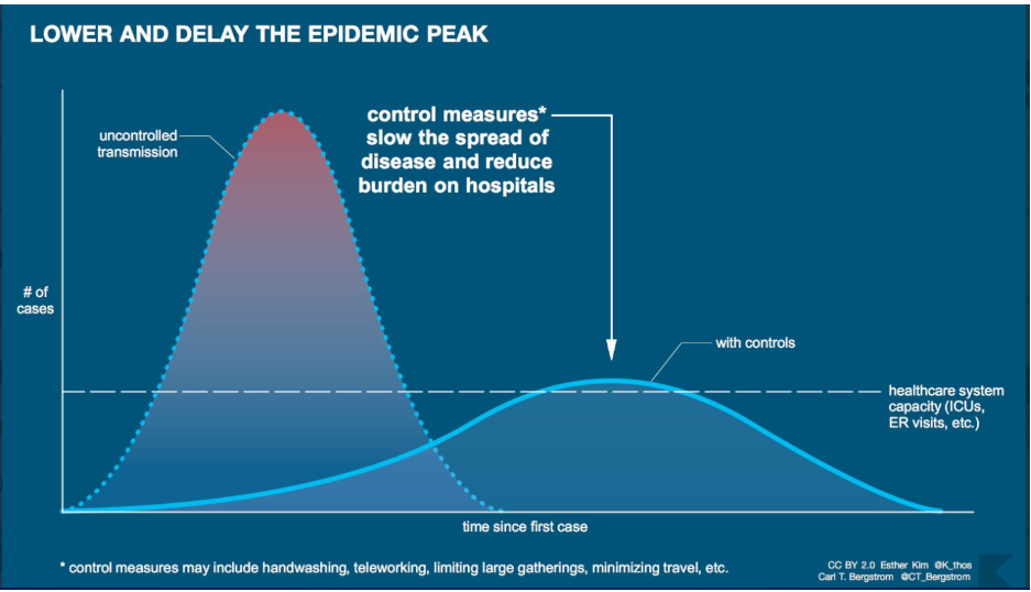 The flattened curve shows how a reduced rate of coronavirus infection could reduce the impact on hospitals and the wider healthcare system.