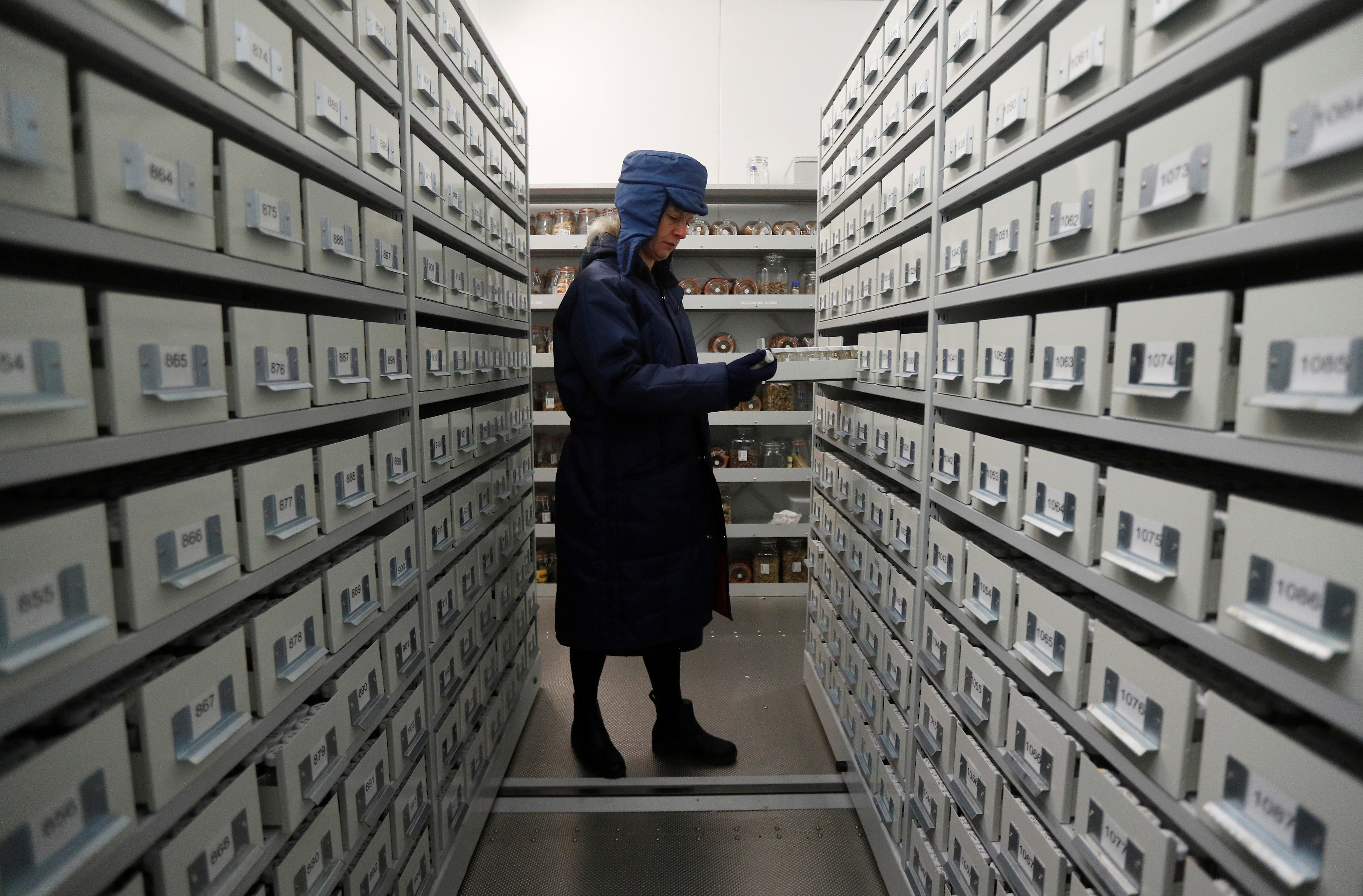 Dr Elinor Breman of Kew Millennium Seed Bank poses for a photograph in a sub-zero seed store at a facility in Wakehurst, southern Britain February 7, 2020.  REUTERS/Peter Nicholls - RC2RVE9VAYI9